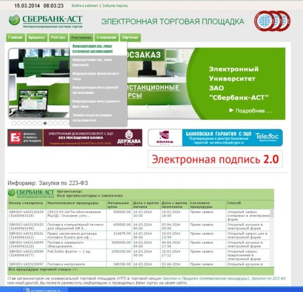 Аккредитация на Сбербанк-АСТ